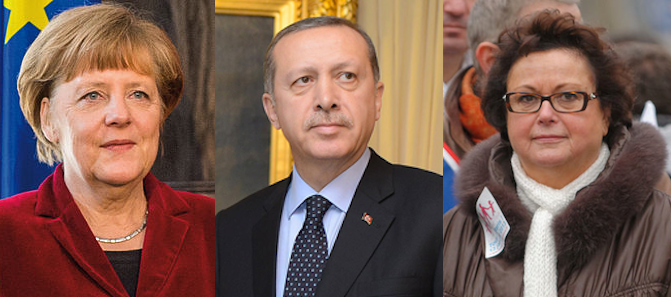 Angela Merkel (Allemagne), Recep Erdogan (Turquie), Christine Boutin (France). Crédit photo Wikipedia